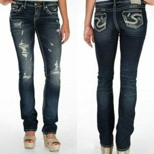 Silver Jeans Aiko Baby Boot Distressed Denim 18